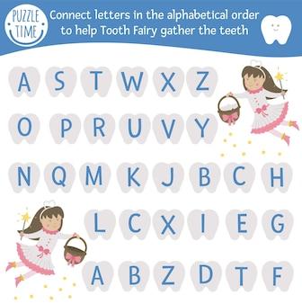 Tandverzorging abc-spel met schattige karakters. tandarts geneeskunde alfabet activiteit voor kleuters. kies letters van a tot z om tandenfee te helpen bij het verzamelen van tanden. eenvoudig spel voor mondhygiëne voor kinderen