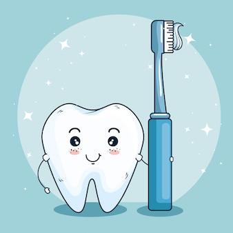 Tandverzorging geneeskunde met tand tandenborstel