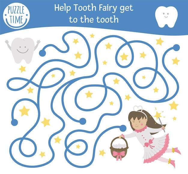 Tandverzorgingslabyrint voor kinderen. preschool tandarts kliniek activiteit. grappig puzzelspel met schattig fantasiemeisje en tanden. help de tandenfee om bij de tand te komen. mondhygiëne labyrint voor kinderen