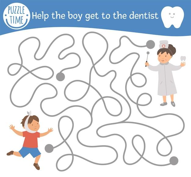 Tandverzorgingslabyrint voor kinderen. voorschoolse medische activiteit. grappig puzzelspel met schattige dokter en kind met pijnlijke tand. help de jongen om naar de tandarts te gaan. mondhygiëne labyrint voor kinderen