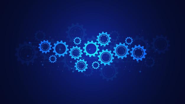Tandwielen en tandwielmechanismen. hi-tech digitale technologie en engineering. abstracte technische achtergrond.