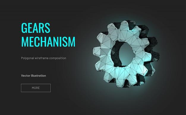 Tandwielen mechanisme in veelhoekige draadframe stijl
