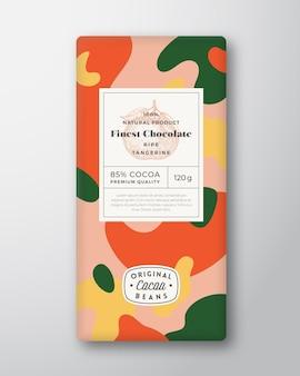 Tangerine chocolade label abstracte vormen vector verpakking ontwerp lay-out met realistische schaduwen modus...