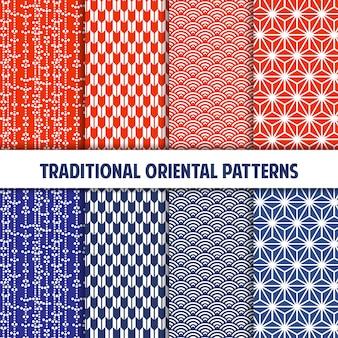 Tangerine en blauwe verzameling van japanse naadloze patronen