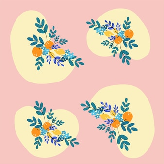 Tangerine flower pattern illustration asset collection