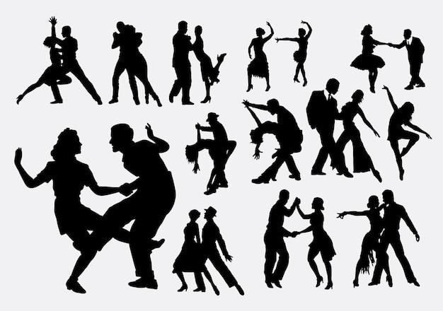 Tango en salsa dansen silhouet