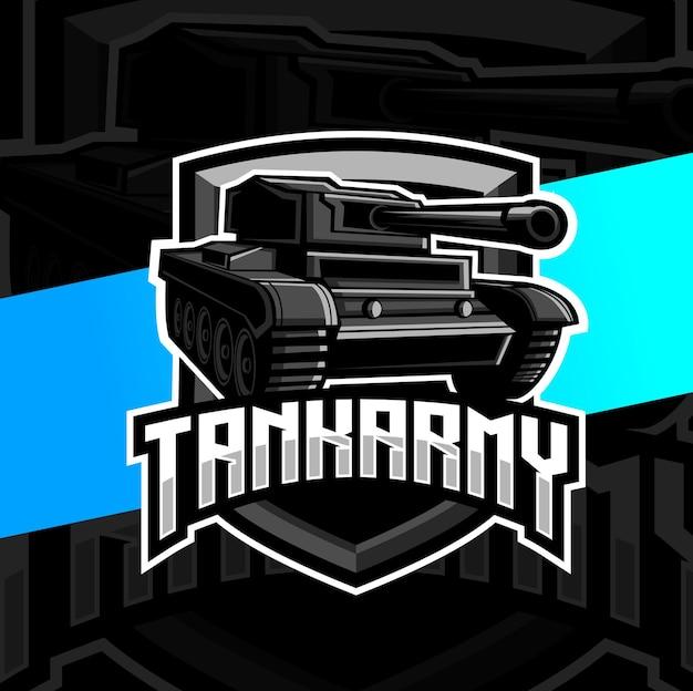 Tank leger mascotte esport logo ontwerp
