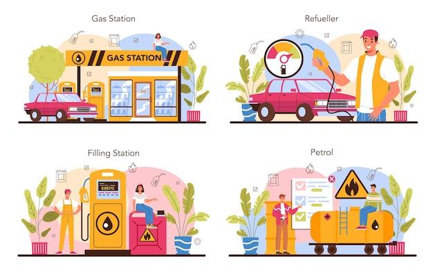 Tanker concept set. benzinestation werknemer in uniform werken
