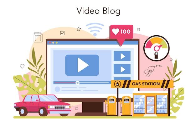 Tanker online service of platform tankstation werknemer met een vulpistool