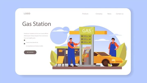 Tanker webbanner of bestemmingspagina. benzinestation werknemer in uniform werken met een vulpistool. man gieten brandstof in auto in petroleumstation. geïsoleerde vectorillustratie