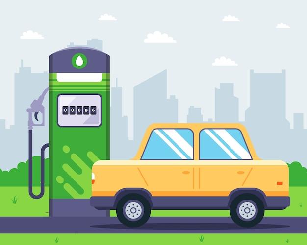 Tankstation met een auto in de buurt. het bijvullen van de tank met benzine. vlak