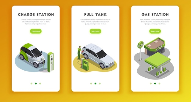 Tankstation set van verticale banners met klikbare leer meer knoppen tekst en afbeeldingen