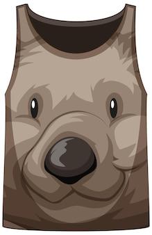 Tanktop met gezicht van schattig berenpatroon
