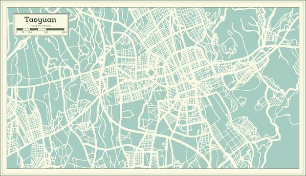 Taoyuan taiwan stadsplattegrond in retro stijl. overzicht kaart. vectorillustratie.