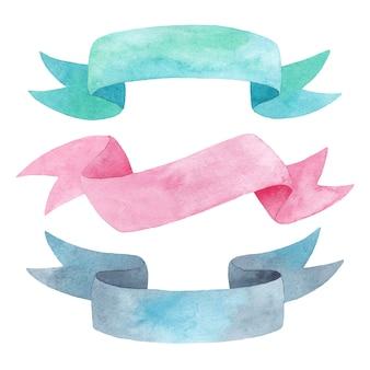 Tape van de waterverf de kleurrijke die stof op witte achtergrond, waterverflinten wordt geïsoleerd voor romantisch huwelijksontwerp