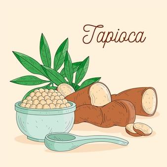 Tapioca hand getekende illustratie
