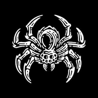 Tarantula spinnen, vintage illustratie