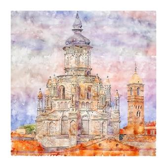 Tarazona aragon spanje aquarel schets hand getrokken illustratie