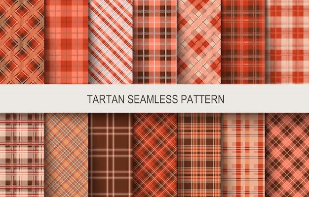 Tartan naadloze patronen in bruine en rode kleuren