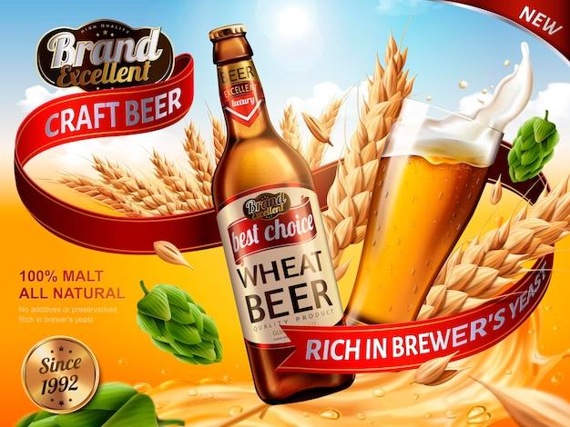 Tarwebieradvertenties, bierfles en glas met spetterend bier en ingrediënten in de lucht, 3d illustratie
