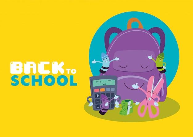 Tas en icon set cartoons ontwerp, terug naar school eduacation les