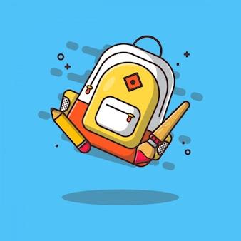 Tas en stationaire pictogramillustraties. onderwijs icon concept wit geïsoleerd.