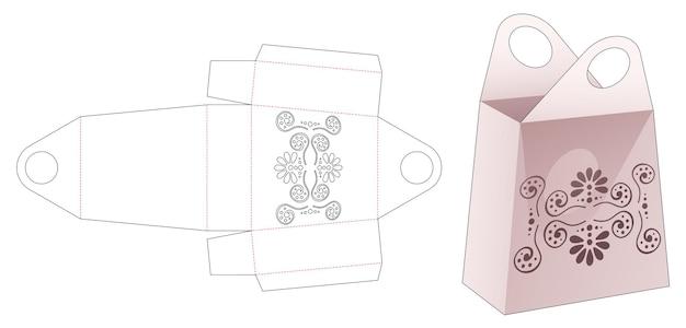 Tas met handvat in de vorm van een obelisk met gestencilde mandala gestanste sjabloon