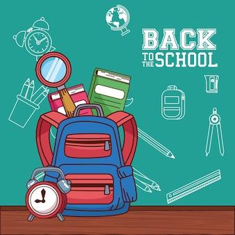 Tas met notitieboekjes lupe en klokontwerp, terug naar schoolonderwijsklasse en lesthema