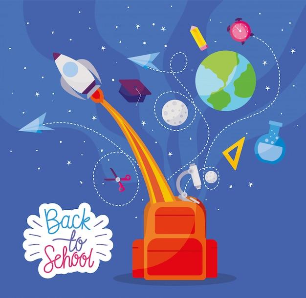 Tas met raket en pictogrammenset ontwerp, terug naar schoolonderwijs klasse les thema