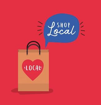 Tas met winkel lokaal binnen bubbelontwerp van detailhandel en marktthema