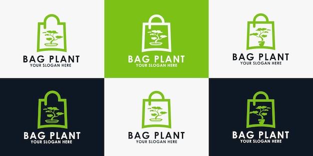 Tas plant logo ontwerp, inspiratie logo voor bloemist en andere natuurwinkel