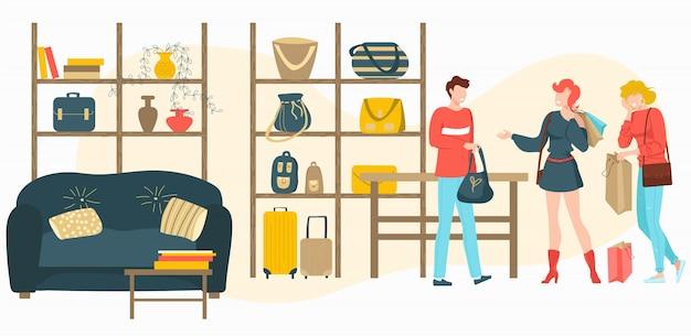 Tassen, bagageopslag met mensenklanten kopen modetas in boetiekwinkel, verkoopbeeldverhaalillustratie.