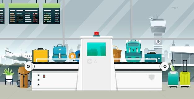 Tassen en bagage die op de luchthaven moeten worden gecontroleerd.