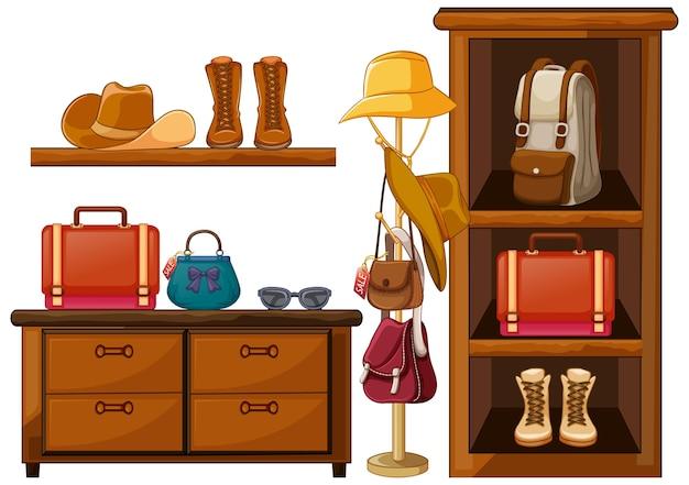 Tassen en schoenen kledingaccessoires op planken