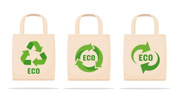 Tassen verminderen vervuiling het concept van de campagne om het gebruik van plastic zakken met symbolen voor hergebruik te verminderen.