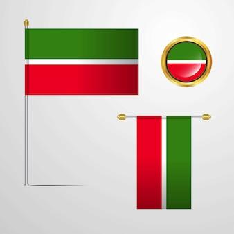 Tatarstan wuivende vlag ontwerp met badge vector