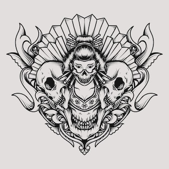 Tatoeage en t-shirt ontwerp geisha en schedel gravure ornament
