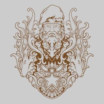 Tatoeage en t-shirt ontwerp hand getekende illustratie kerstman met herten gravure ornament