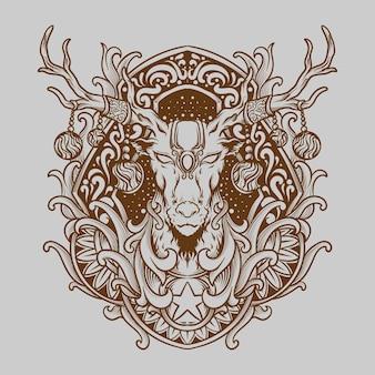 Tatoeage en t-shirt ontwerp met de hand getekende illustratie kerst deerengraving ornament