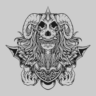 Tatoeage en t-shirt ontwerp zwart-wit hand getekende baby duivel gravure ornament