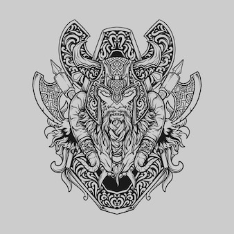 Tatoeage en t-shirt ontwerp zwart-wit hand getekende viking hoofd gravure ornament