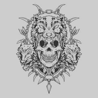 Tatoeage en t-shirt ontwerp zwart-wit hand getekende wolf en schedel gravure ornament