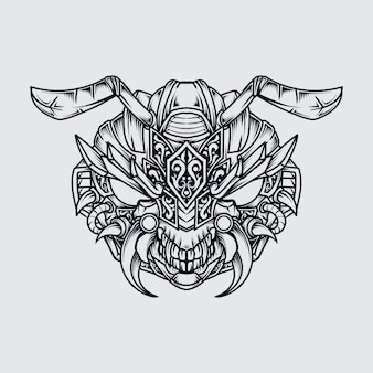 Tatoeage en t-shirt ontwerp zwart-wit hand getrokken illustratie monster mier hoofd gravure sieraad