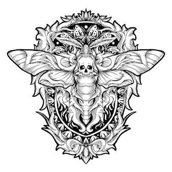 Tatoeage en t-shirt ontwerp zwart-wit hand getrokken illustratie mot schedel gravure ornament