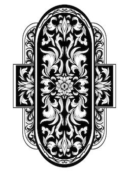 Tatoeage en t-shirt ontwerp zwart-wit hand getrokken illustratie ovaal ornament