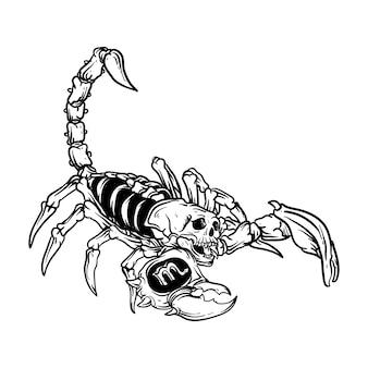 Tatoeage en t-shirt ontwerp zwart-wit hand getrokken illustratie schorpioen schedel dierenriem