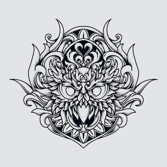 Tatoeage en t-shirt ontwerp zwart-wit hand getrokken illustratie uil gravure sieraad