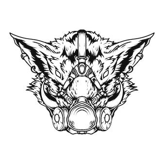 Tatoeage en t-shirt ontwerp zwart-wit hand getrokken illustratie wild zwijn gasmasker