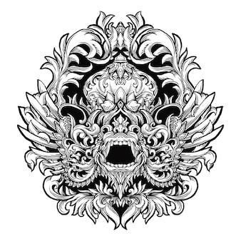 Tatoeage en t-shirt ontwerp zwart-wit hand getrokken illustratie
