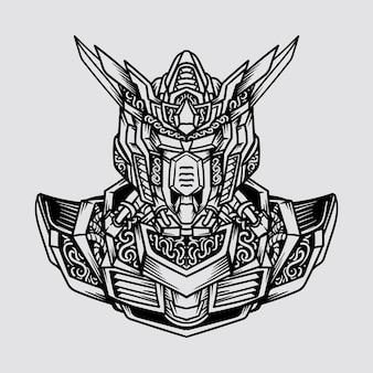 Tatoeage en t-shirt ontwerp zwart-wit hand getrokken robot hoofd en schouder